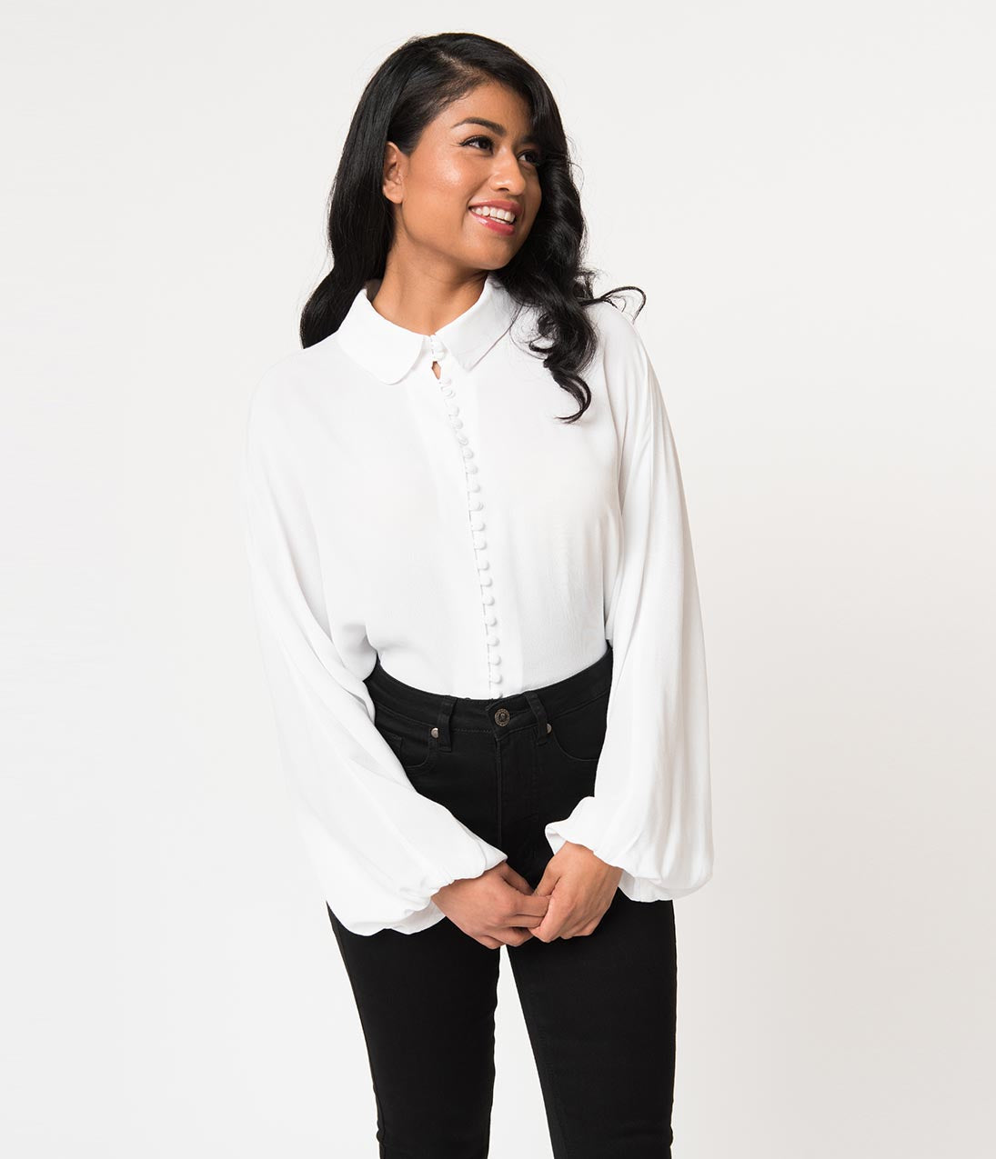Vintage & Retro Shirts, Halter Tops, Blouses Vintage Style White Button Up Bishop Sleeve Crepe Blouse $52.00 AT vintagedancer.com
