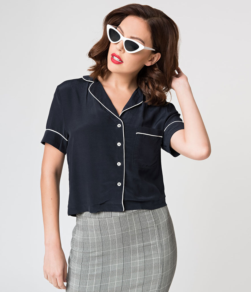 Navy Blue & White Short Sleeve Button Up Blouse