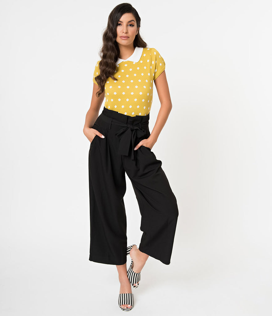 8a2234b00116 Vintage Style Black Pleated High Waist Culotte Pants – Unique Vintage