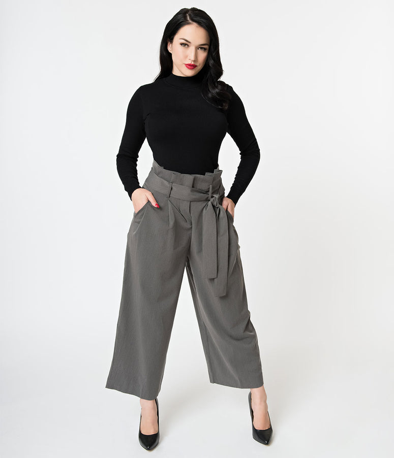Vintage Style Grey Pleated High Waist Culotte Pants