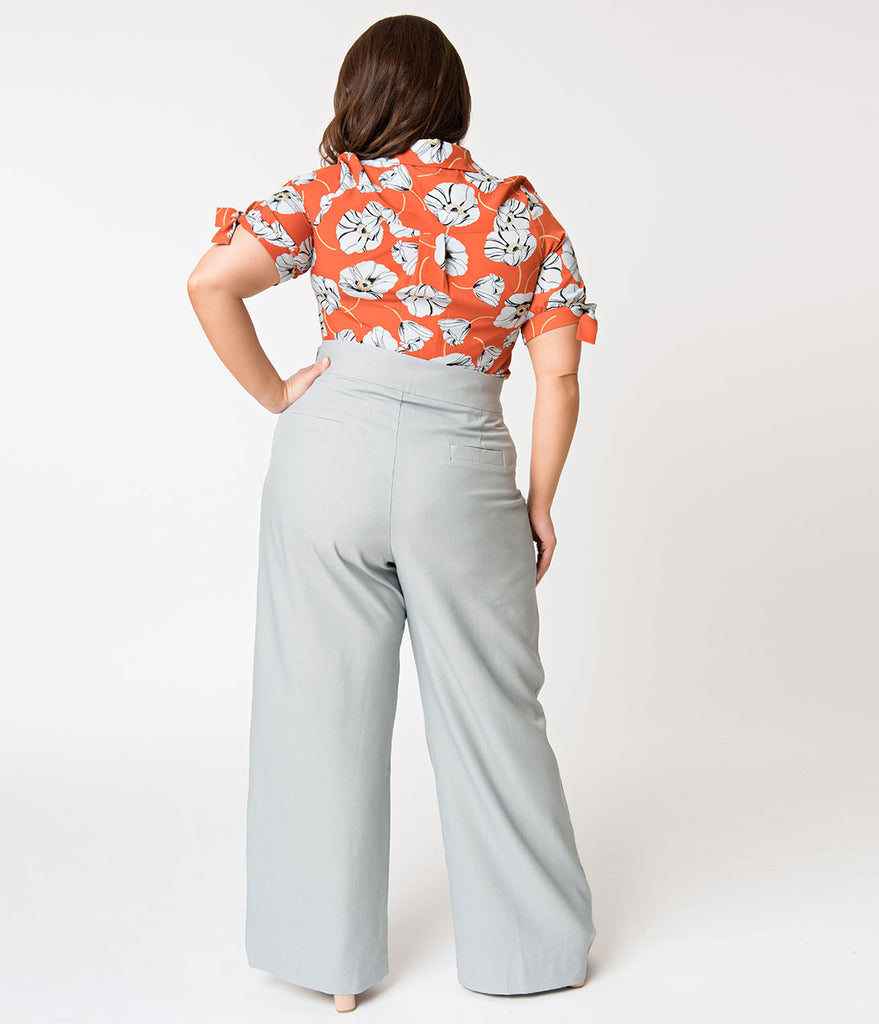 Unique Vintage Plus Size 1940s Style Light Grey High Waist Sailor Ginger Pants