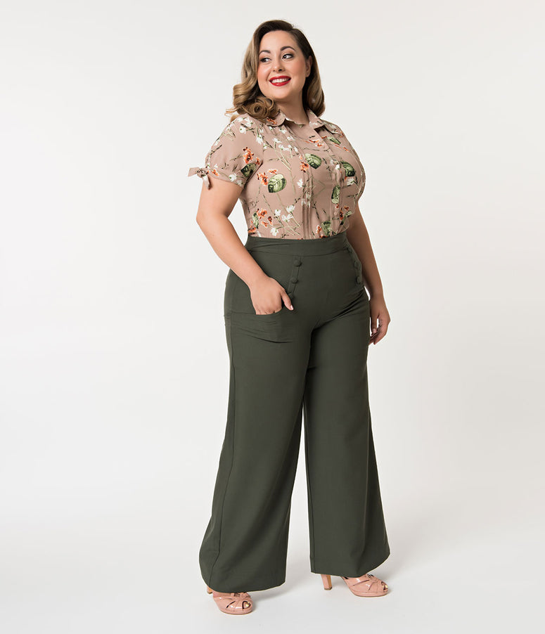 Unique Vintage Plus Size 1940s Style Moss Green High Waist Sailor Ginger Pants