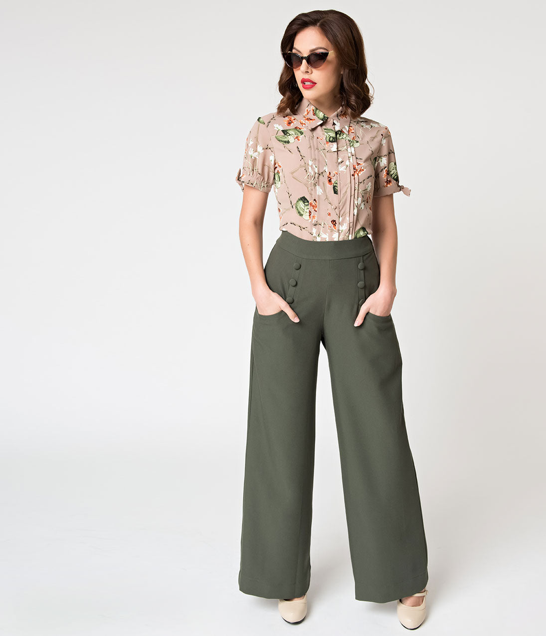 1940s Swing Pants & Sailor Trousers- Wide Leg, High Waist Unique Vintage 1940S Style Moss Green High Waist Sailor Ginger Pants $64.00 AT vintagedancer.com