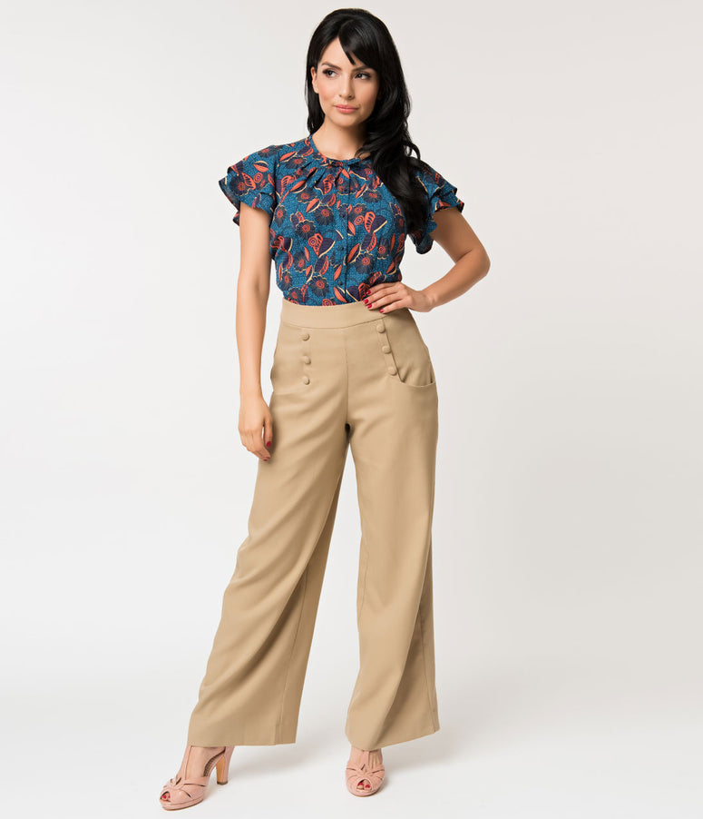 Unique Vintage 1940s Style Golden Tan High Waist Sailor Ginger Pants