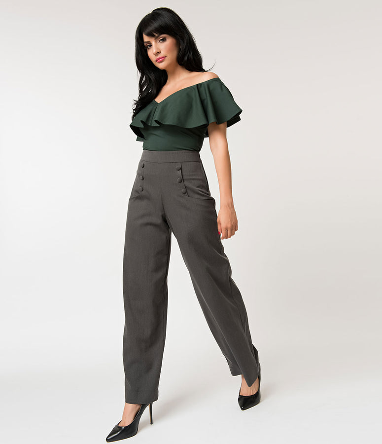 231416e23a8 Unique Vintage 1940s Style Dark Grey High Waist Sailor Ginger Pants