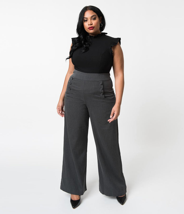 d962349342d Unique Vintage Plus Size 1940s Style Dark Grey High Waist Sailor Ginger  Pants