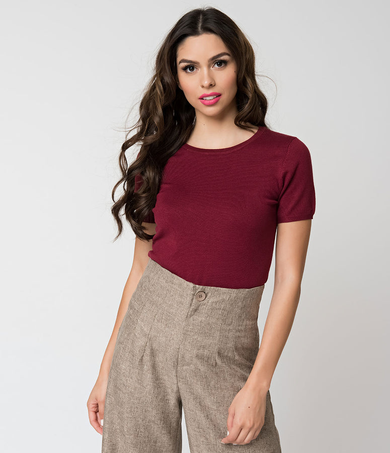 Burgundy Ribbed Knit Short Sleeve Pullover Sweater
