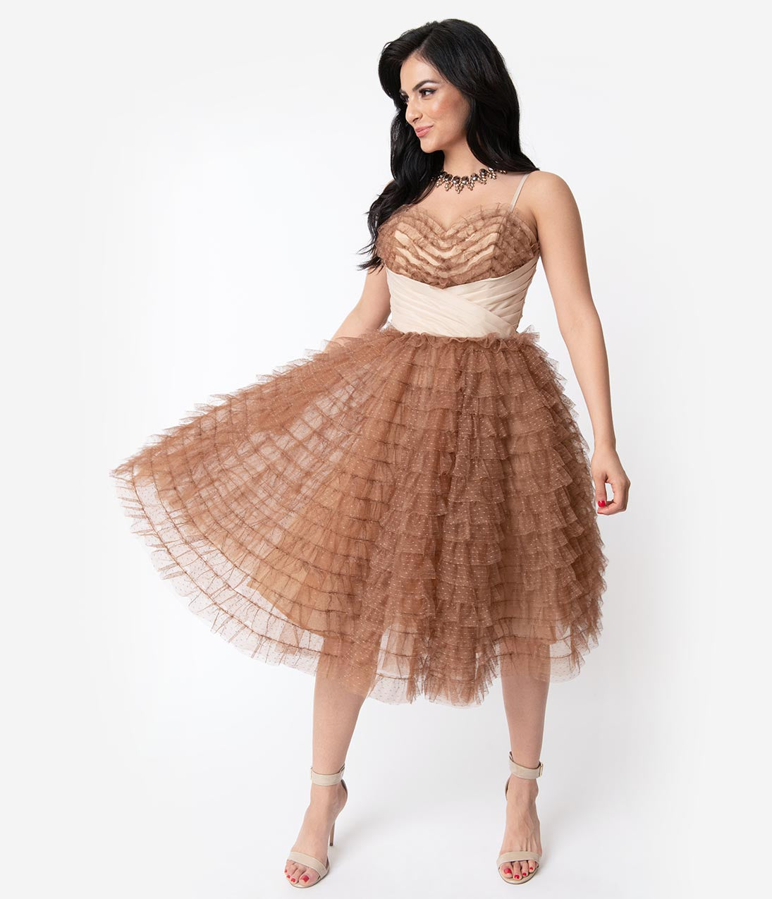 1950s Formal Dresses & Evening Gowns to Buy Unique Vintage 1950S Mocha Ruffled Tulle Sweetheart Cupcake Swing Dress $128.00 AT vintagedancer.com
