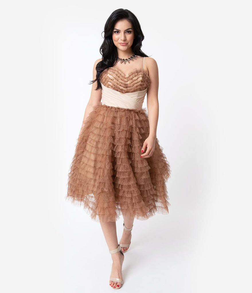 Unique Vintage 1950s Mocha Ruffled Tulle Sweetheart Cupcake Swing Dress
