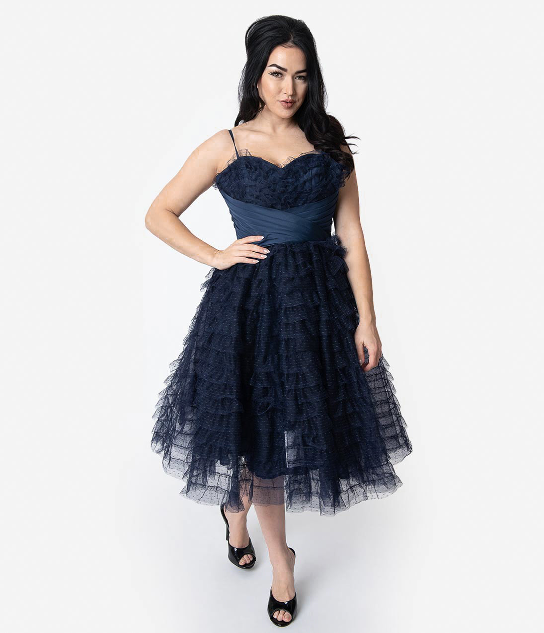 1950s Formal Dresses & Evening Gowns to Buy Unique Vintage 1950S Navy Ruffled Tulle Sweetheart Cupcake Swing Dress $128.00 AT vintagedancer.com