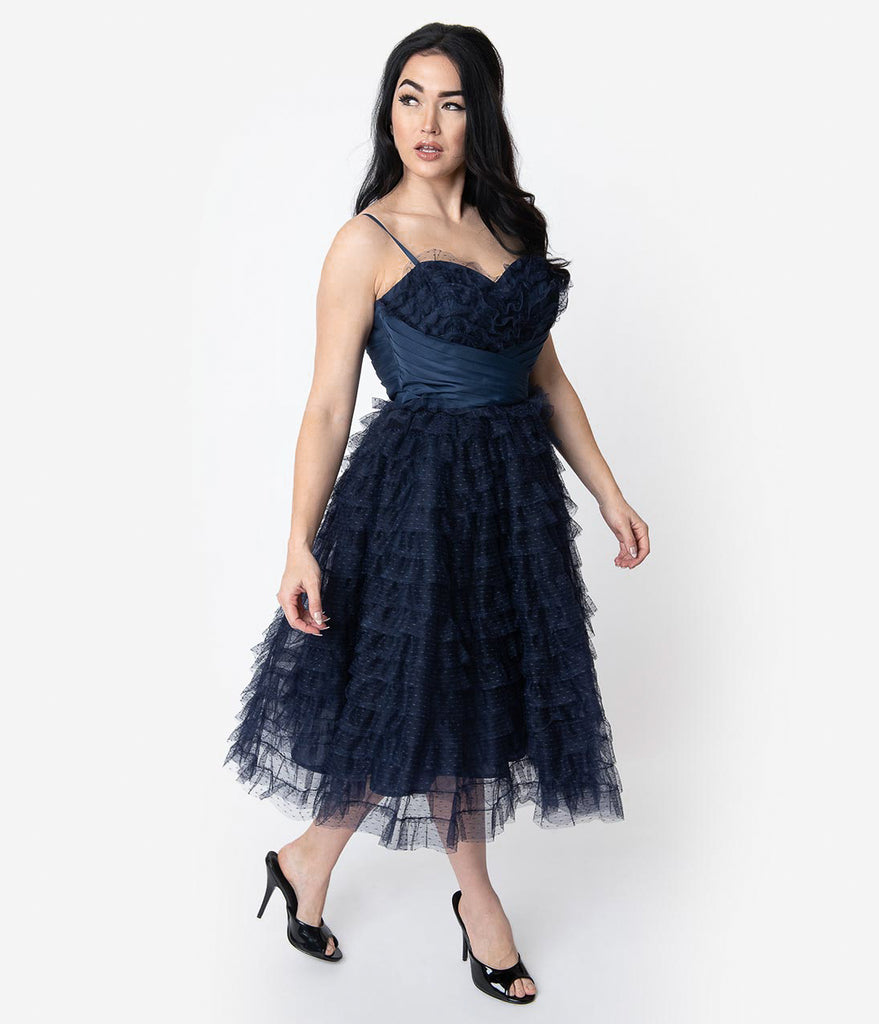 Unique Vintage 1950s Navy Ruffled Tulle Sweetheart Cupcake Swing Dress