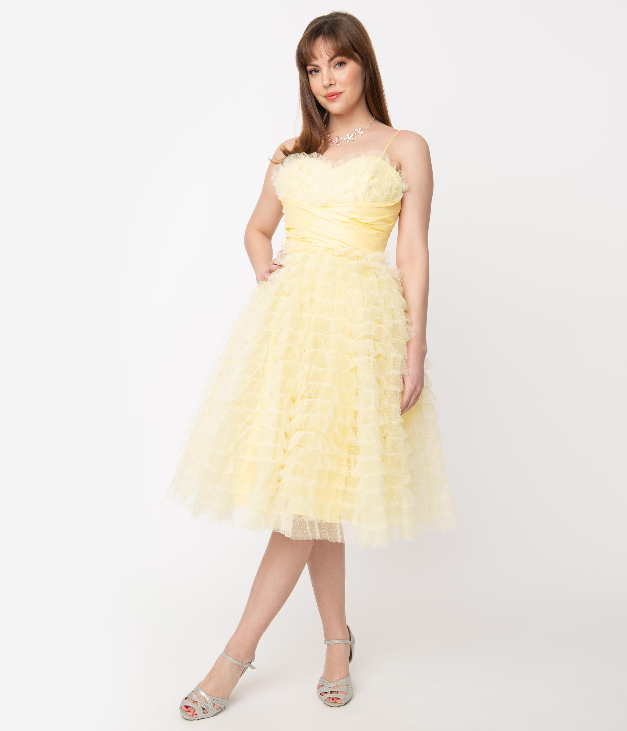Vintage Evening Dresses and Formal Evening Gowns Unique Vintage 1950S Yellow Ruffled Tulle Cupcake Swing Dress $110.00 AT vintagedancer.com