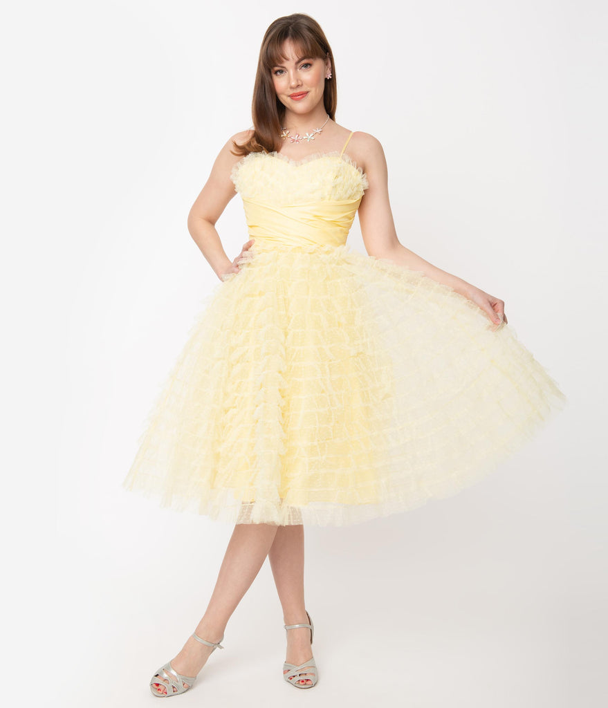 Unique Vintage 1950s Yellow Ruffled Tulle Cupcake Swing Dress
