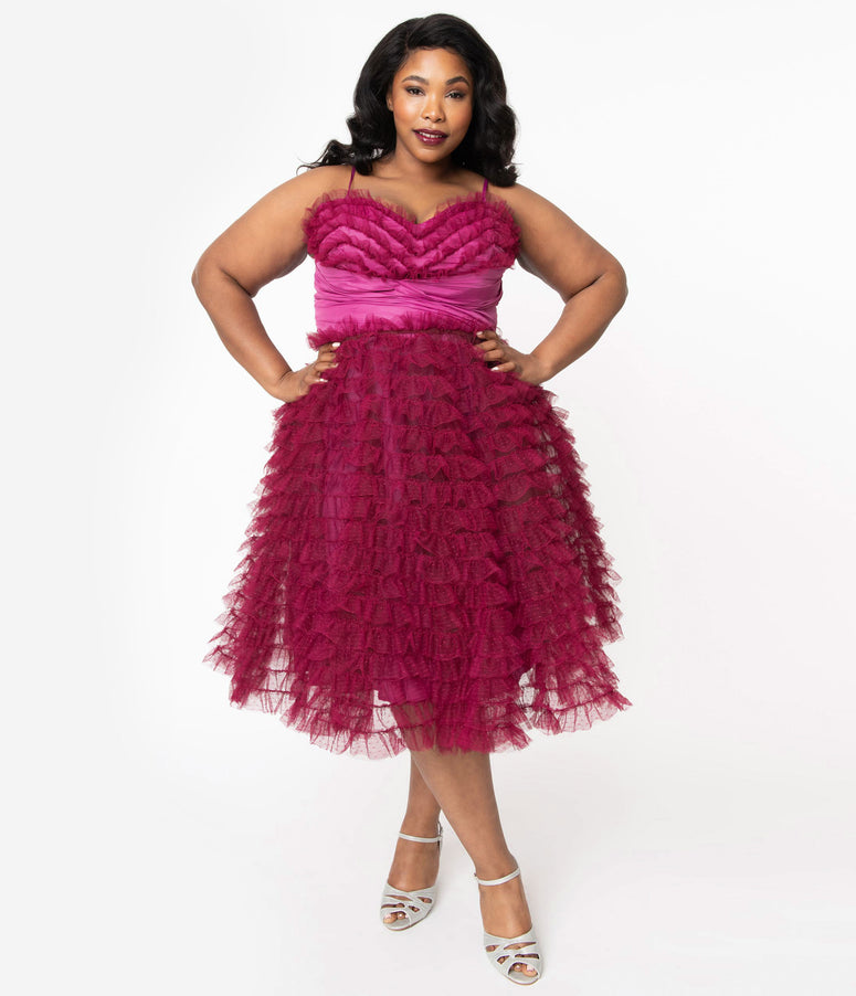 Unique Vintage Plus Size 1950s Berry Ruffled Cupcake Swing Dress
