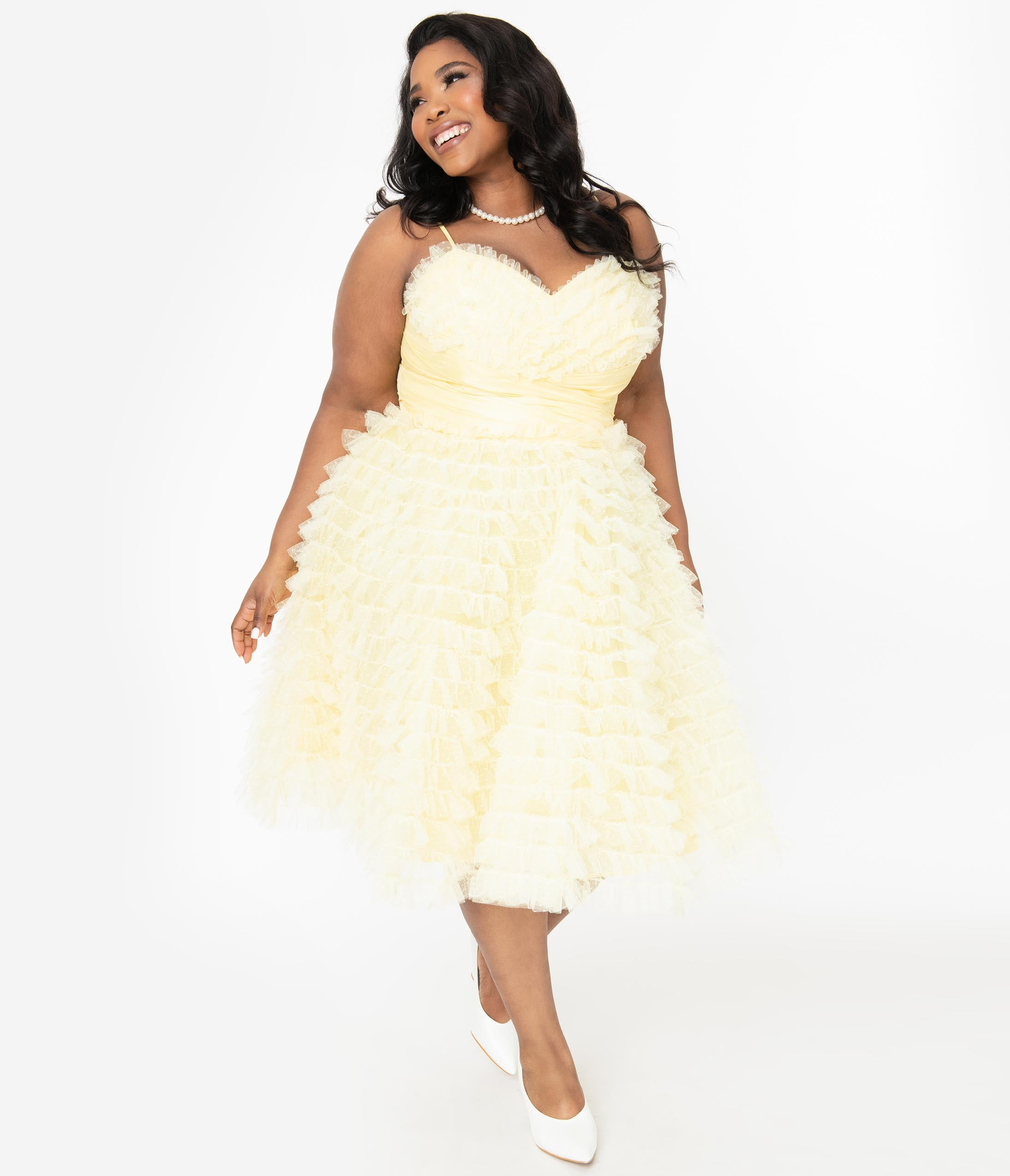 Vintage Evening Dresses and Formal Evening Gowns Unique Vintage Plus Size 1950S Yellow Ruffled Tulle Cupcake Swing Dress $110.00 AT vintagedancer.com