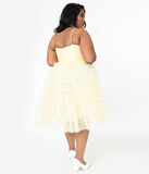 Unique Vintage Plus Size 1950s Yellow Ruffled Tulle Cupcake Swing Dress