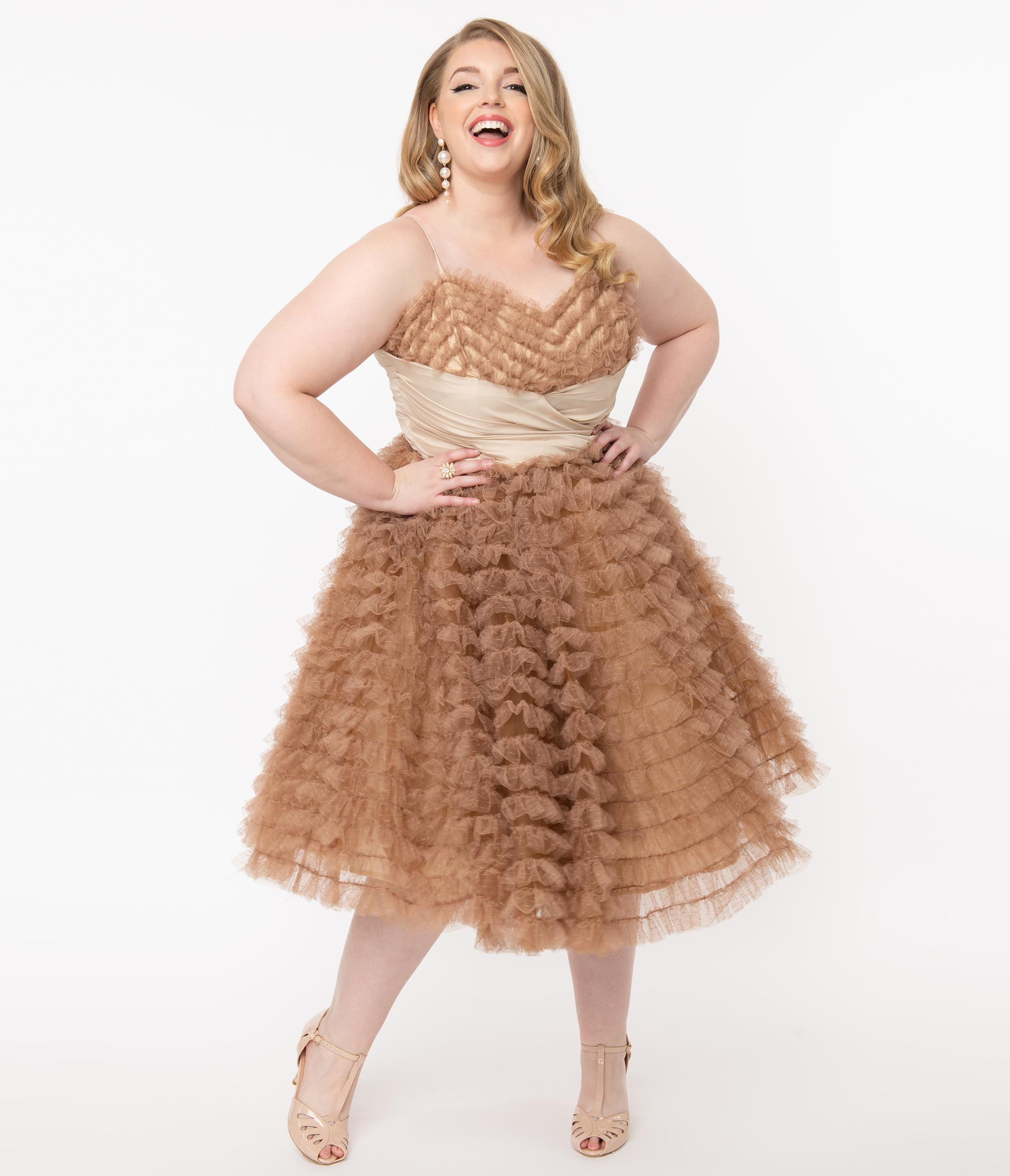 1950s History of Prom, Party, and Formal Dresses Unique Vintage Plus Size 1950S Mocha Ruffled Tulle Cupcake Swing Dress $118.00 AT vintagedancer.com