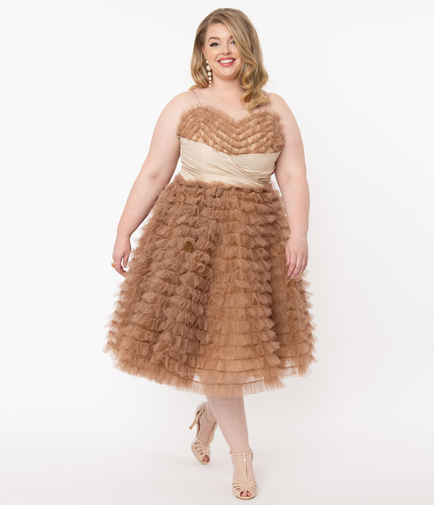 Unique Vintage Plus Size 1950s Mocha Ruffled Tulle Cupcake Swing Dress