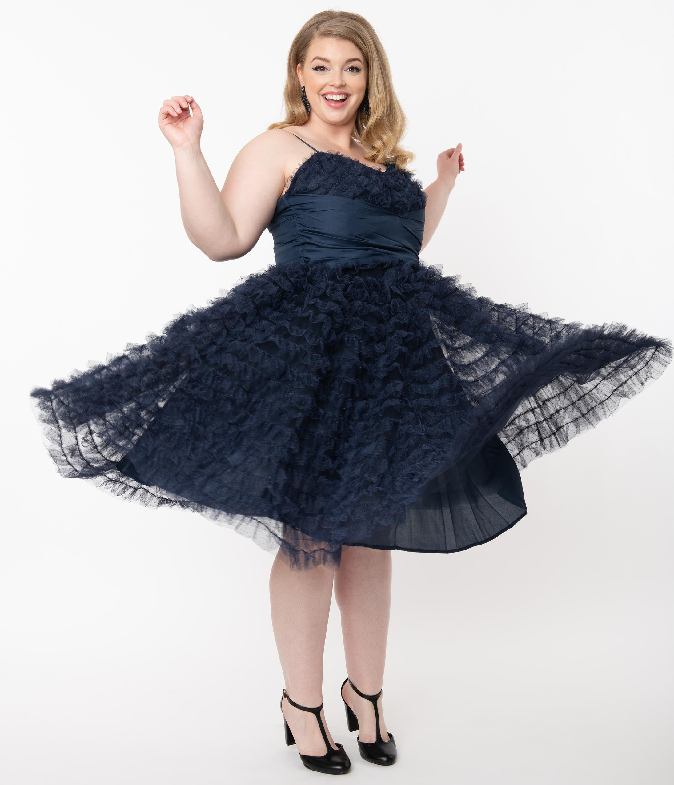 1950s History of Prom, Party, and Formal Dresses Unique Vintage Plus Size 1950S Navy Ruffled Tulle Cupcake Swing Dress $118.00 AT vintagedancer.com