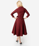 Unique Vintage 1950s Style Burgundy Red Stretch Sleeved Anna Wrap Dress