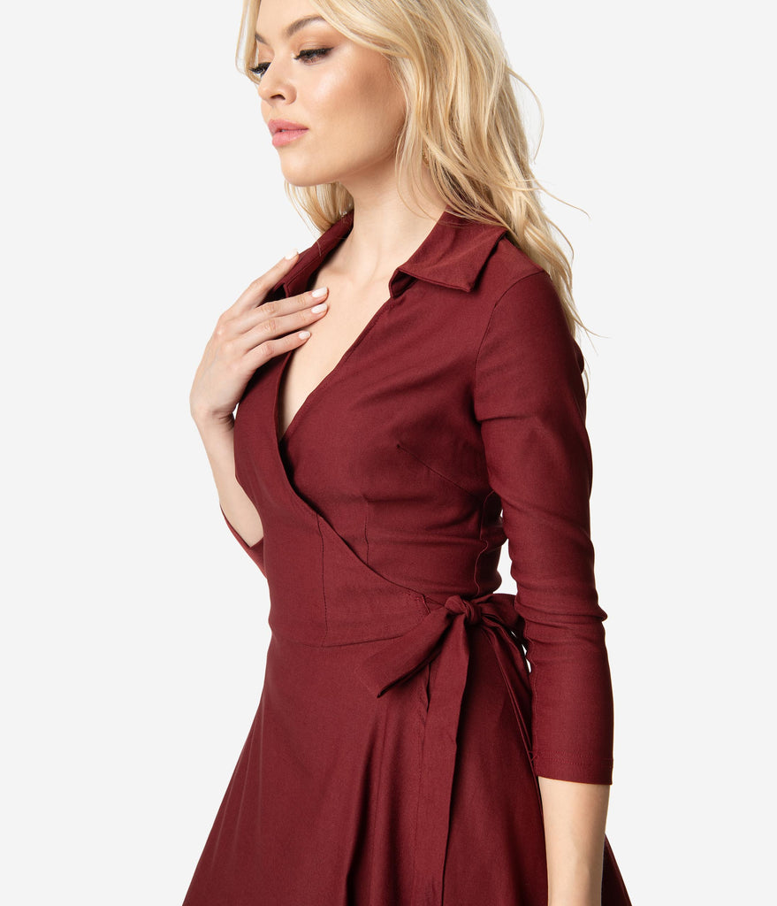 51e64c7efb1d ... Unique Vintage 1950s Style Burgundy Red Stretch Sleeved Anna Wrap Dress  ...