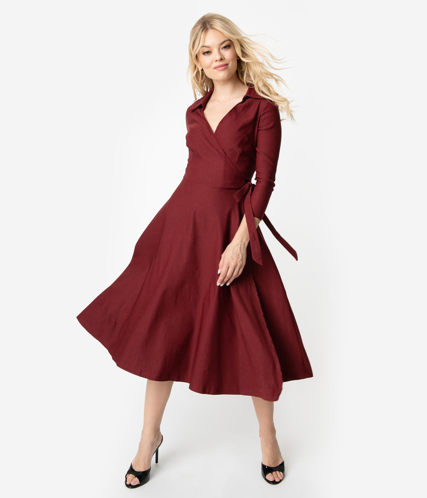 d5bff1377e4f ... Unique Vintage 1950s Style Burgundy Red Stretch Sleeved Anna Wrap Dress