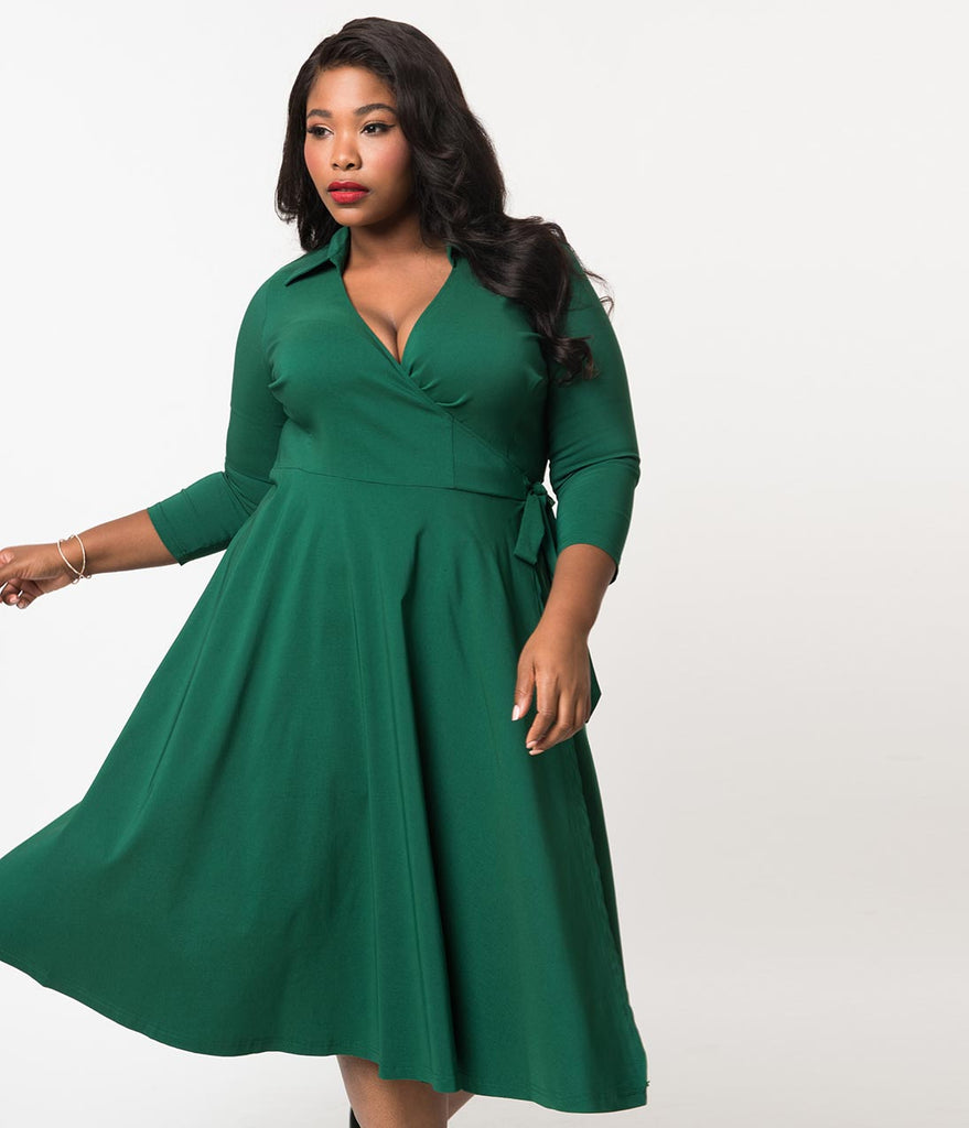 Unique Vintage Plus Size 1950s Style Hunter Green Stretch Sleeved Anna Wrap Dress