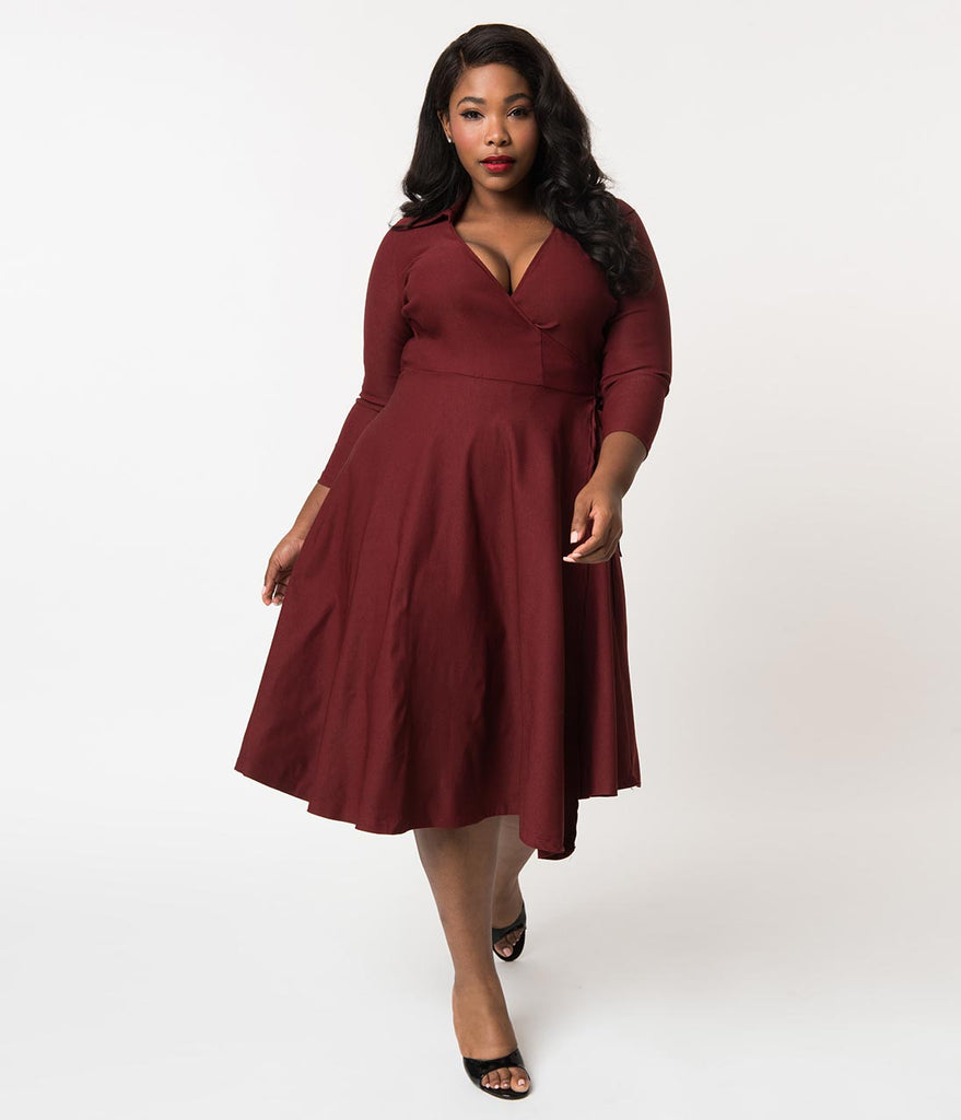 Unique Vintage Plus Size 1950s Style Burgundy Red Stretch Sleeved Anna Wrap  Dress