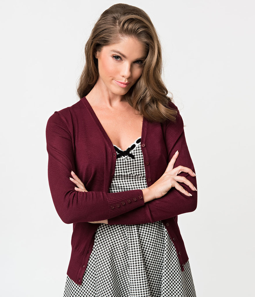 Burgundy Red Long Sleeve Button Up Knit Cardigan