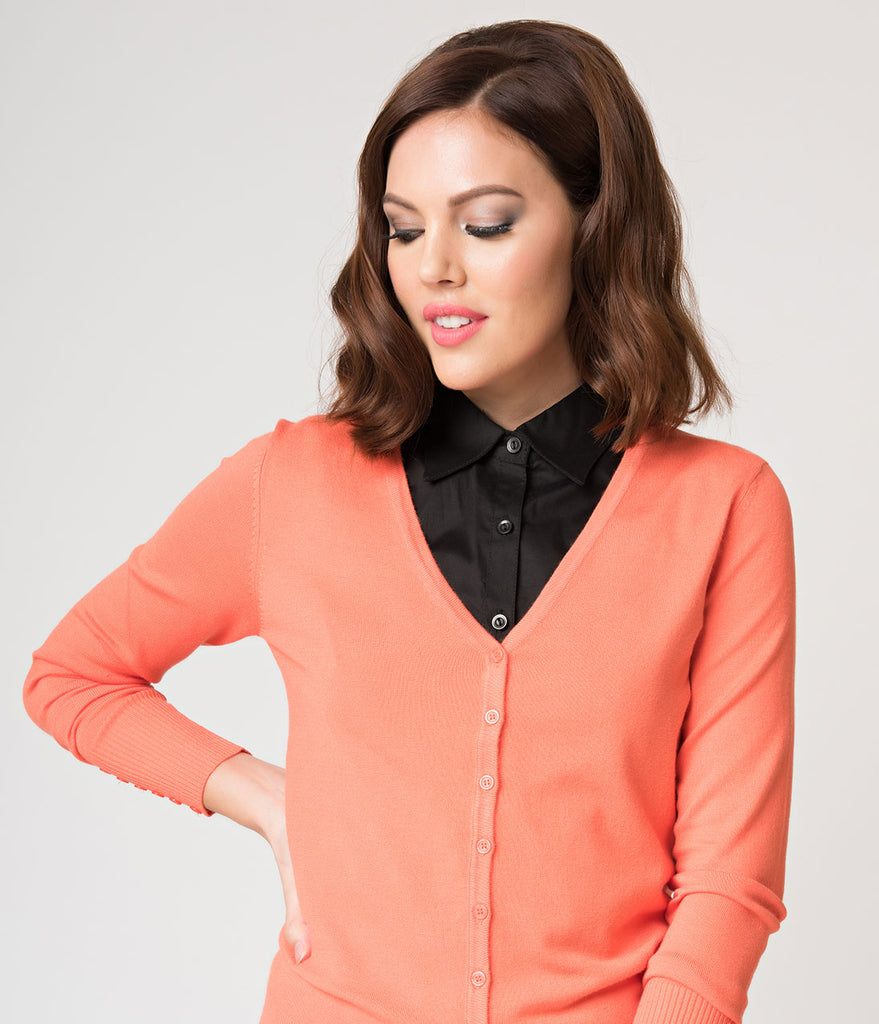 Coral Orange Long Sleeve Button Up Knit Cardigan