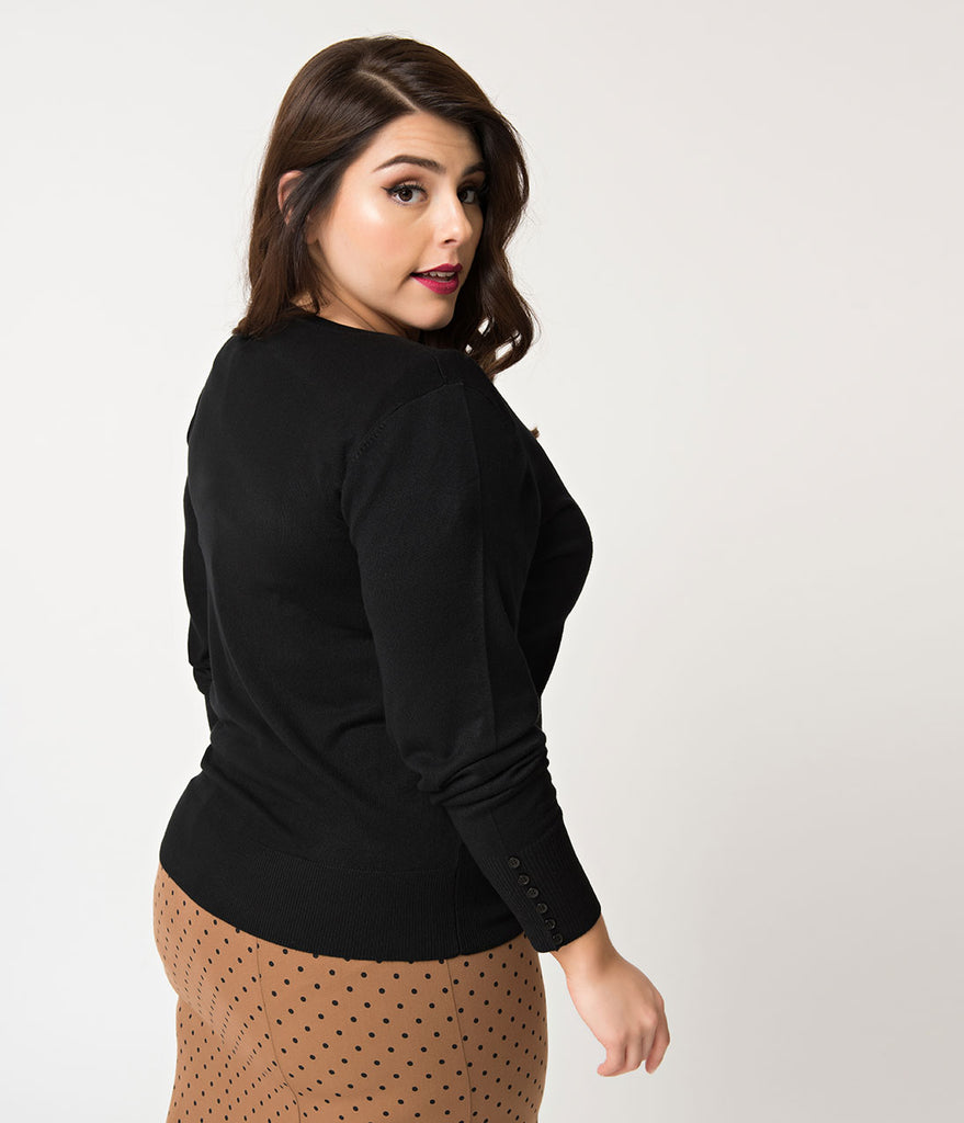 Retro Style Plus Size Black Knit Long Sleeve Button Up Cardigan