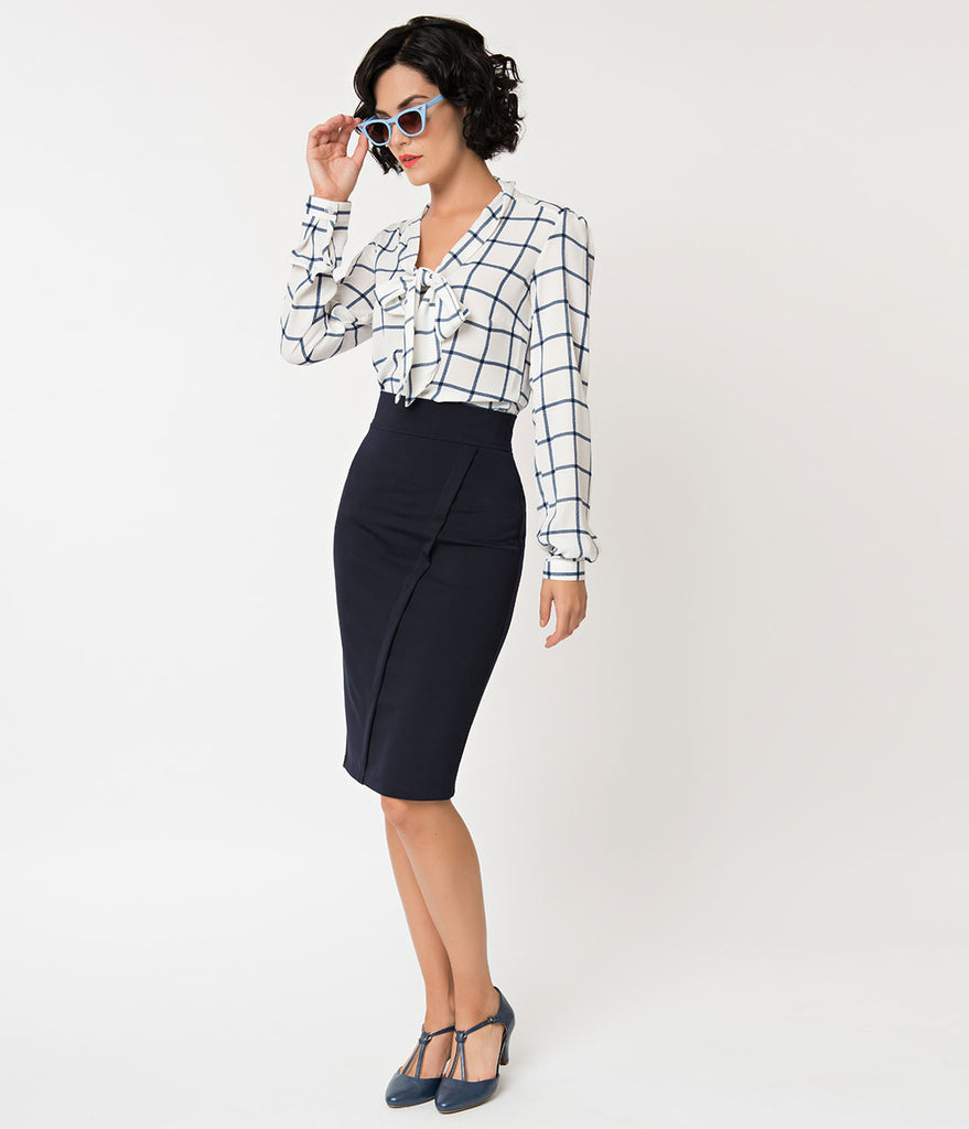 Retro Style Navy Blue Pencil Skirt