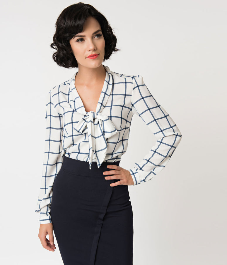 White & Navy Checkered Long Sleeve Woven Blouse