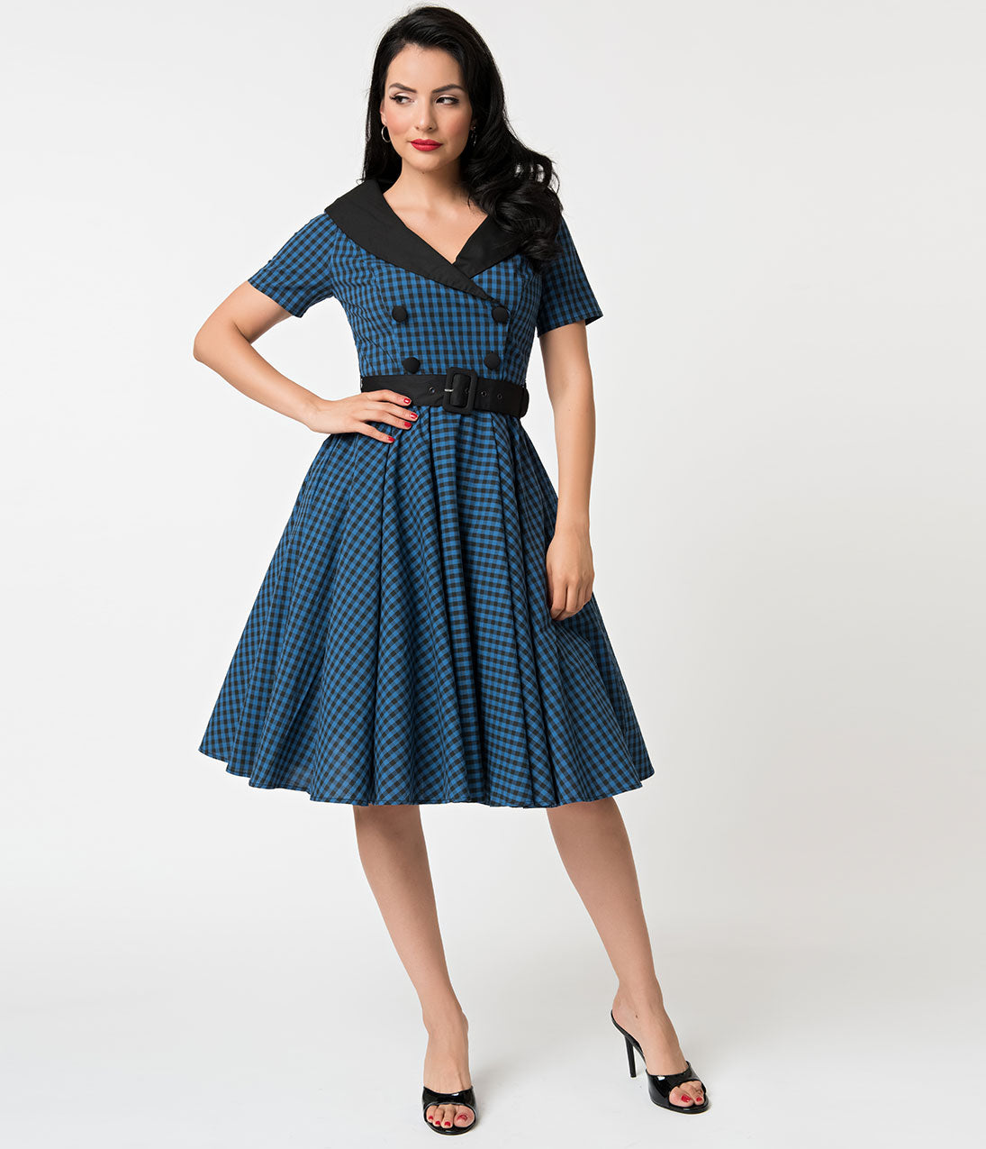 1950s Swing Dresses | 50s Swing Dress Hell Bunny 1950S Style Navy  Black Gingham Bridget Swing Dress $59.00 AT vintagedancer.com