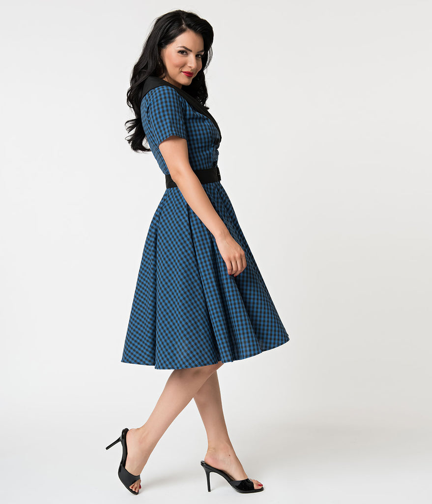 Hell Bunny 1950s Style Navy & Black Gingham Bridget Swing Dress