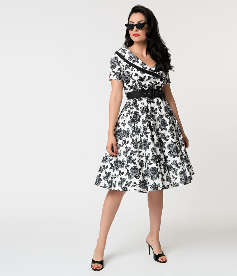 Hell Bunny 1950s Style White & Black Floral Honor Swing Dress