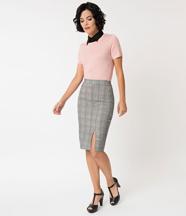 Grey Plaid High Waisted Pencil Skirt