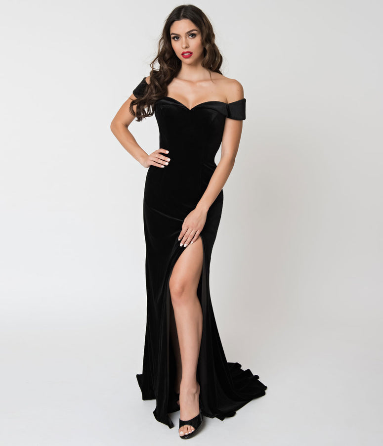 Black Velvet Off Shoulder Neckline Cap Sleeve Gown