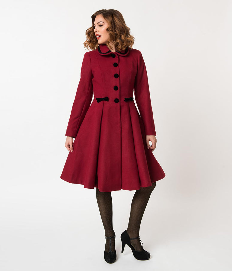 Hell Bunny 1950s Style Burgundy Red Felt Button Up Olivia Coat