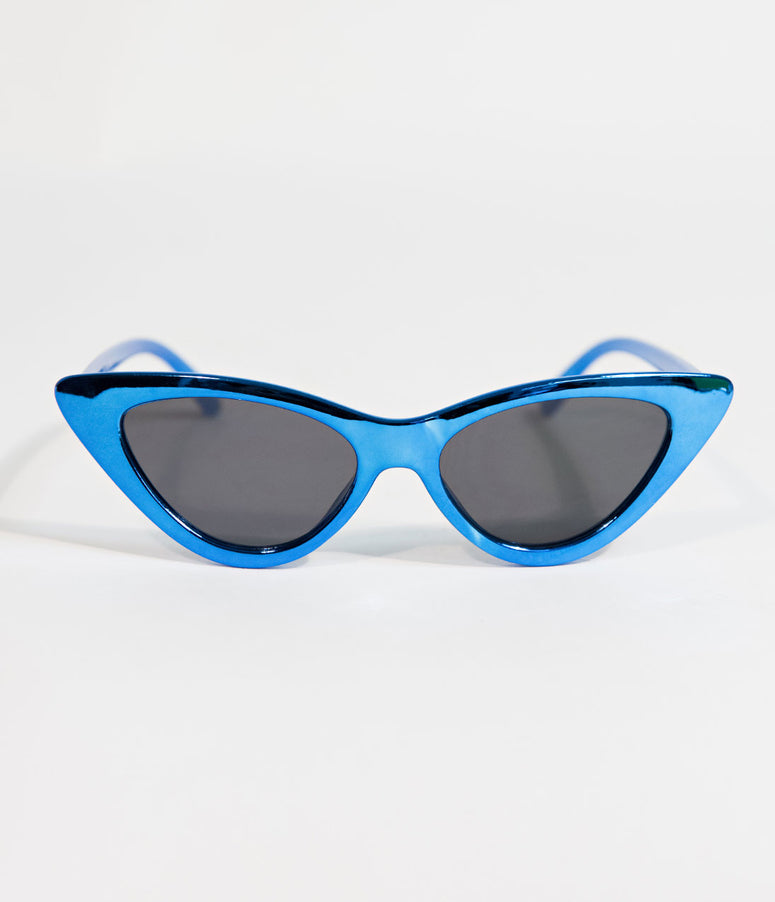 Retro Style Metallic Blue Gee Whiz Cat Eye Sunglasses