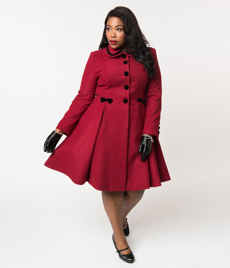 Hell Bunny Plus Size 1950s Style Burgundy Red Felt Button Up Olivia Coat