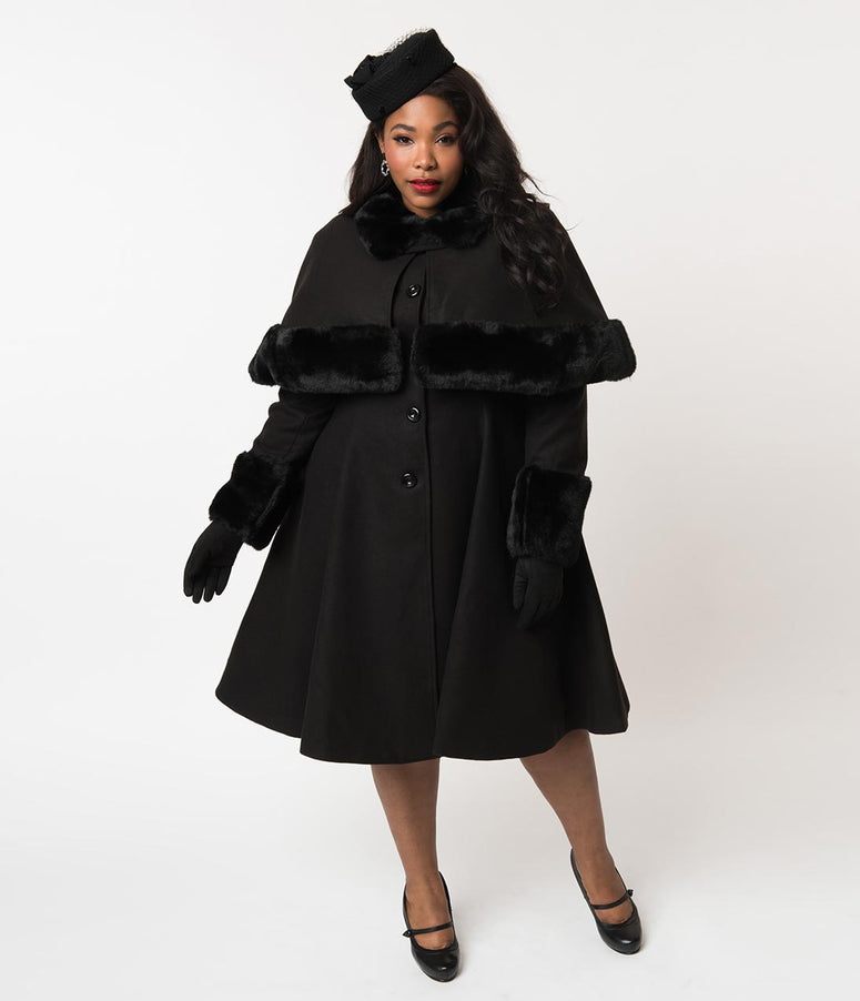 76bc088b79643 Hell Bunny Plus Size Black Felt Button Up Capulet Coat   Cape