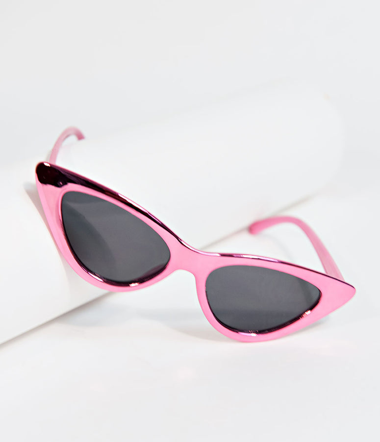Retro Style Metallic Pink Gee Whiz Cat Eye Sunglasses