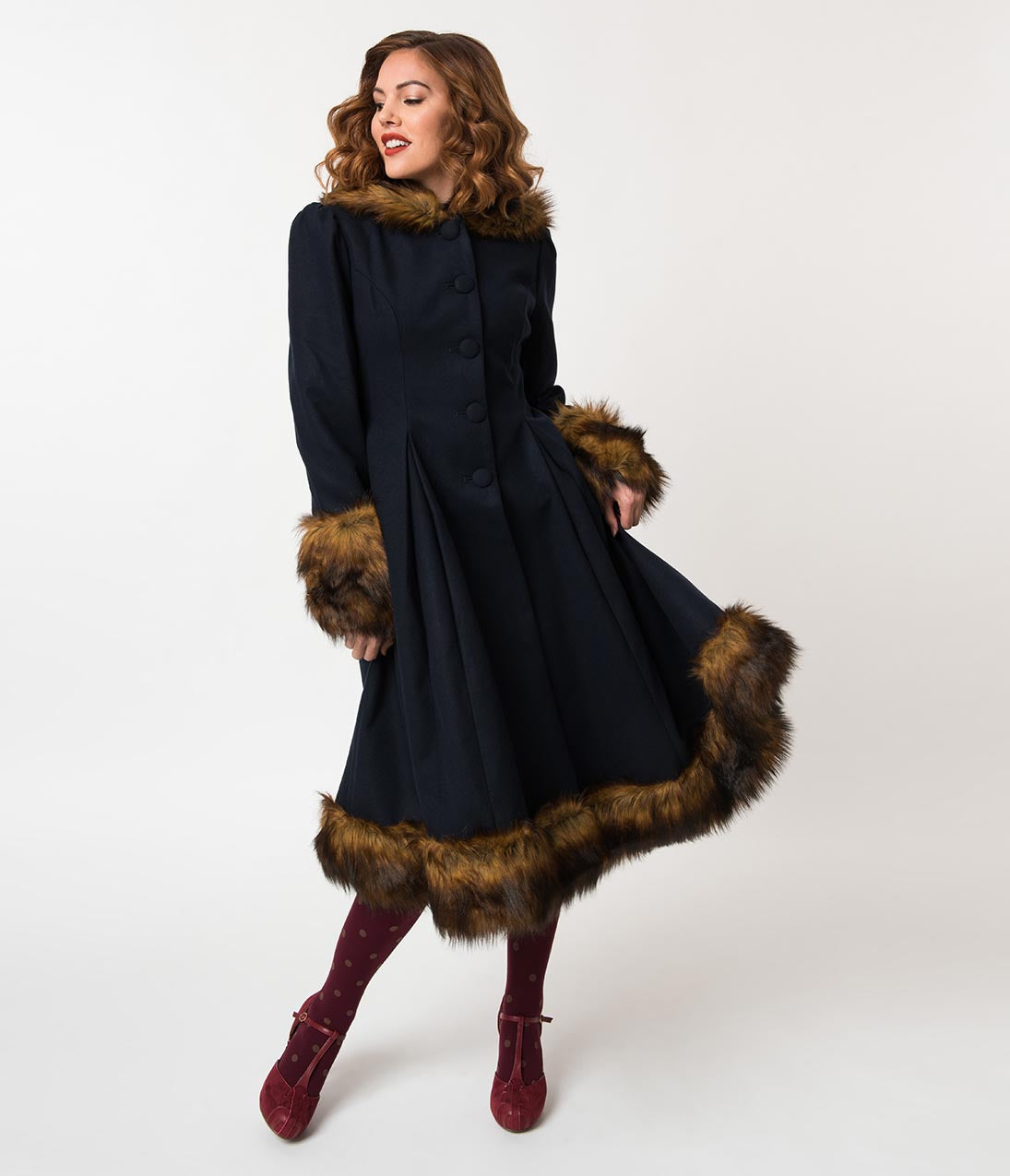 1930s Style Coats, Jackets | Art Deco Outerwear Hell Bunny Navy Blue  Brown Fur Button Up Hooded Robin Coat $194.00 AT vintagedancer.com