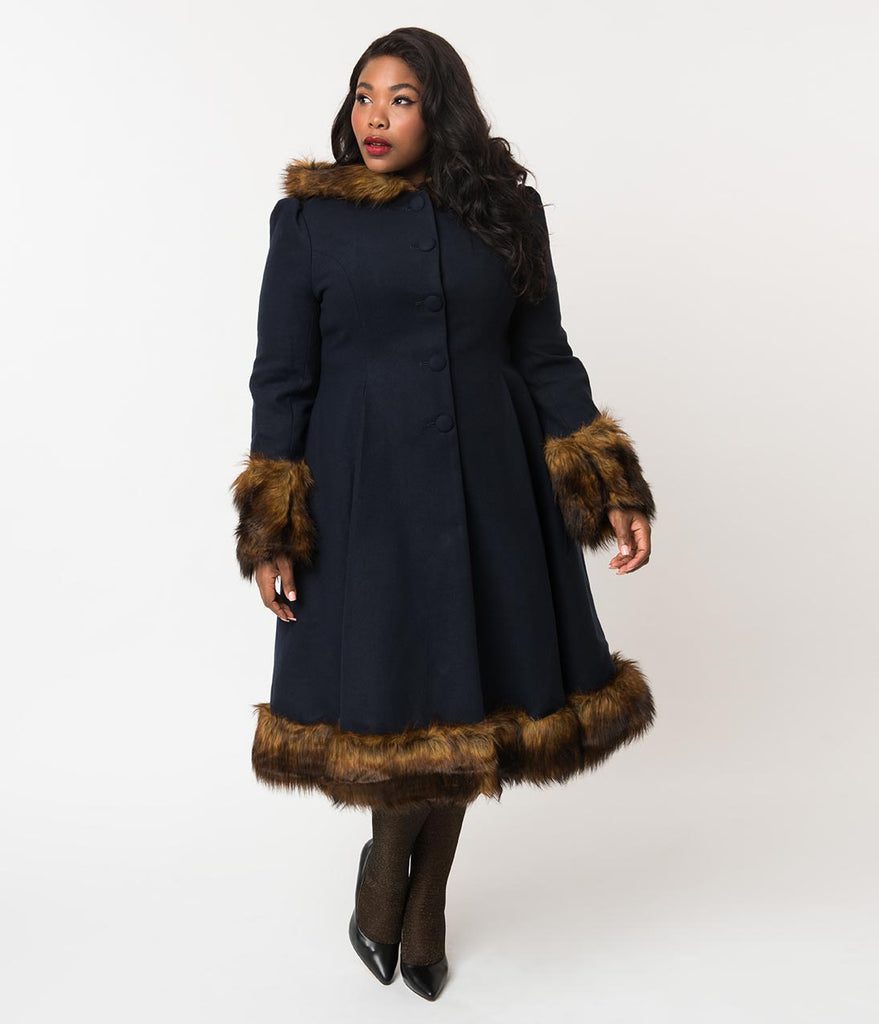 Hell Bunny Plus Size Navy Blue & Brown Fur Button Up Hooded Robin Coat
