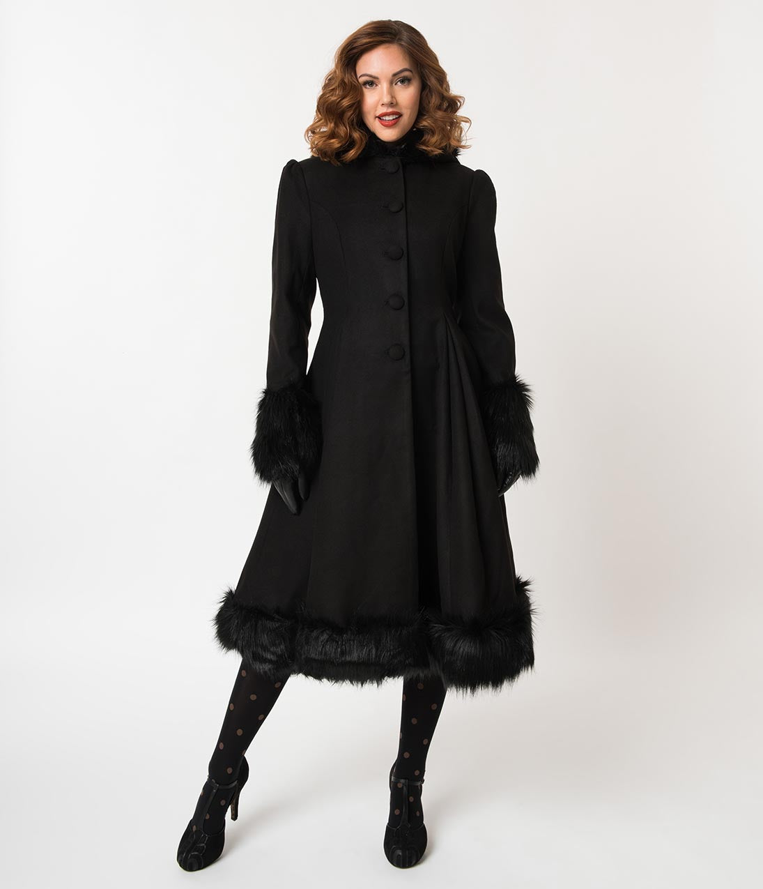 1940s Coats & Jackets Fashion History Hell Bunny Black Fur Button Up Hooded Elvira Coat $218.00 AT vintagedancer.com