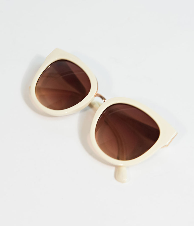 1950s Style Cream Penelope Cat Eye Sunglasses