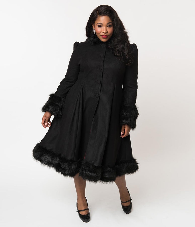 Hell Bunny Plus Size Black Fur Button Up Hooded Elvira Coat