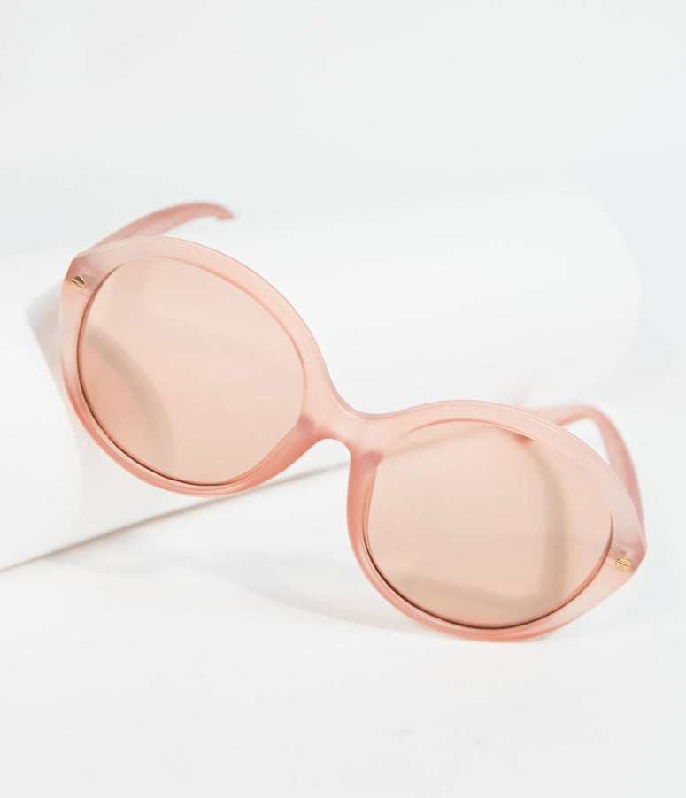 1960s Style Matte Pink Cape May Round Sunglasses
