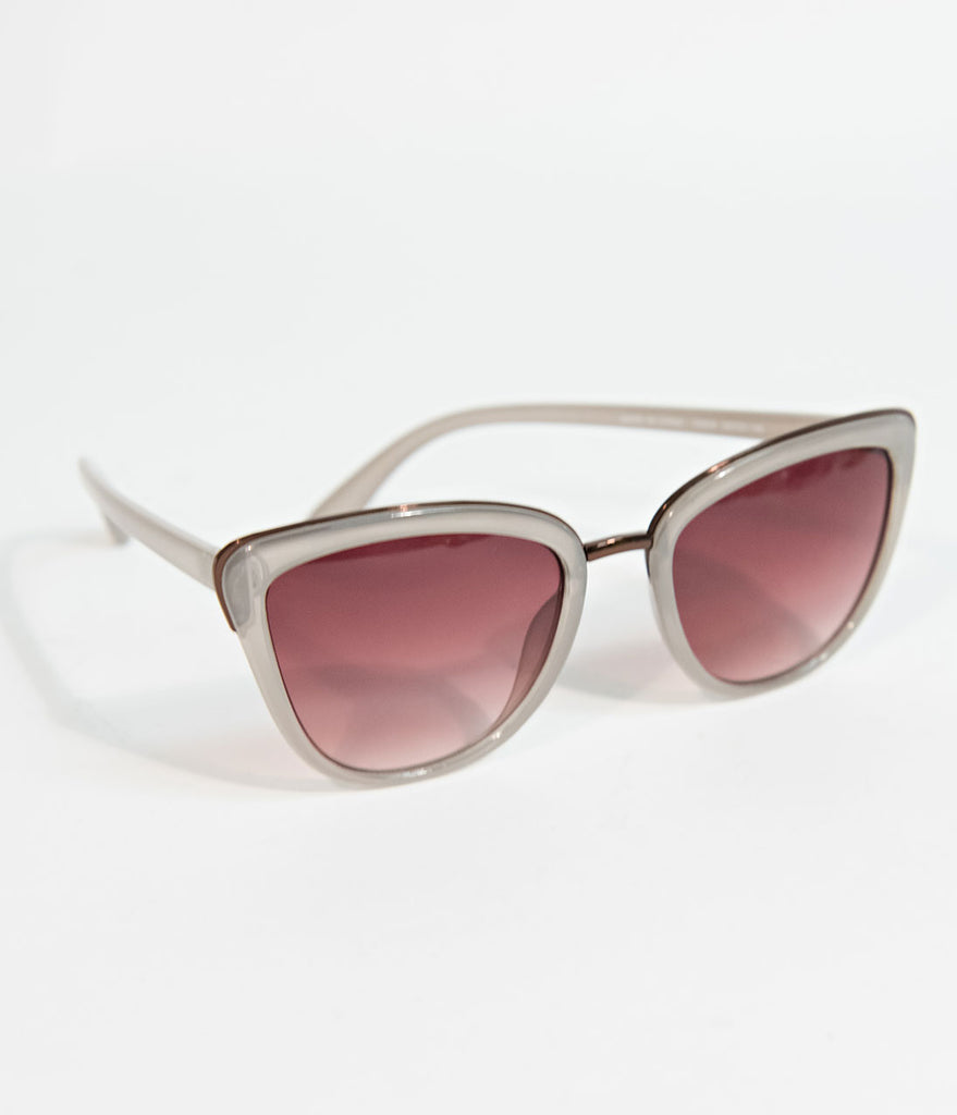 Vintage Style Grey & Brown Majestic Cateye Sunglasses